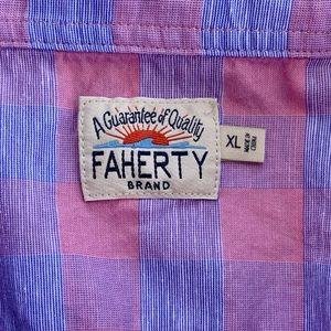 Faherty Shirts - Faherty Short Sleeve Checkerboard Casual Shirt. XL